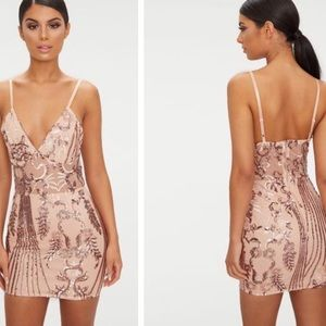 PrettyLittleThing- Rose Gold Sequin Bodycon Dress